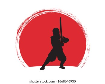 Ninja standing ready to fight with sword. Figure on sunset background.
