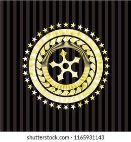 ninja star icon inside golden emblem