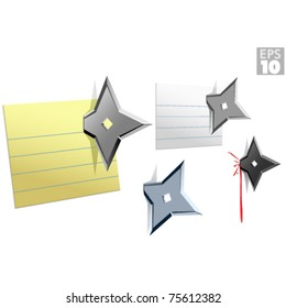 Ninja star note push pins, stuck on wall message