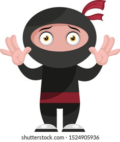 Ninja surrendering, illustration, vector on white background.