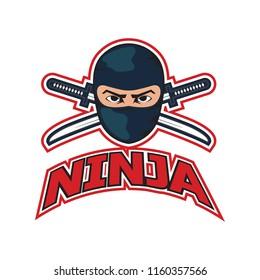 ninja with sword and mask logo. vector illustration