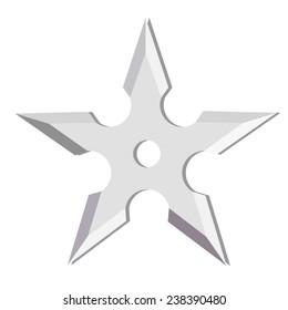 Ninja throwing star isolated on white, shuriken, weapon