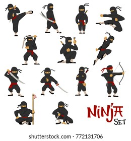 Ninja vector warrior set of cartoon character ninjitsu in various poses samurai in fighting action isolated on white background