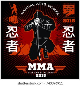 Ninja Warrior Fighter - Mixed Martial Art - vector illustration on black background