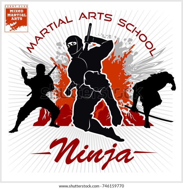Ninja Warrior Fighter Mixed Martial Art Stock Vector