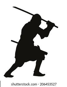 Ninja warrior with sword detailed vector silhouette. EPS 8