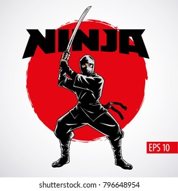 Ninja warrior vector illustration. Silhouette of japanese fighter.