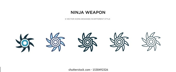 ninja weapon icon in different style vector illustration. two colored and black ninja weapon vector icons designed in filled, outline, line and stroke style can be used for web, mobile, ui