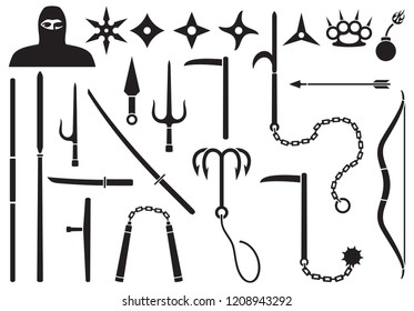 Ninja weapons icons set (shuriken star, nunchaku, japanese samurai sword katana, bow and arrow, grappling hook, throwing knife, spear)