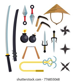 Ninja Weapons Set Vector. Assassin Accessories. Star, Sword, Sai, Nunchaku. Throwing Knives, Katana, Shuriken. Isolated Flat Cartoon Illustration