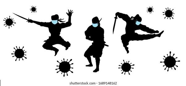 Ninjas in medical face masks fighting against COVID-19 (coronavirus 2019-nCoV) or other viruse silhouette vector illustration.