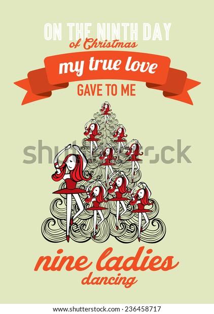 Ninth Day Of Christmas.Ninth Day Christmas Twelve Days Christmas Stock Vector