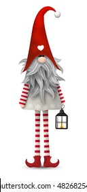 Nisser in Norway and Denmark, Tomtar in Sweden or Tonttu in Finnish, Scandinavian folklore elves, nordic traditional christmas motive, Tomte with lanternisolated on white background, vector