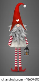 Nisser in Norway and Denmark, Tomtar in Sweden or Tonttu in Finnish, Scandinavian folklore elves, nordic christmas motive, Tomte with lantern on gray background, vector illustration, eps 10 with