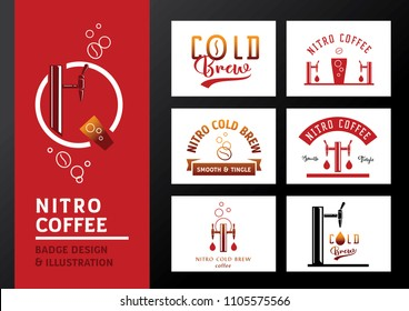 nitro coffee badge  design and vector illustration with coffee bean,tap and glass.