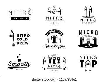 nitro cold brew coffee logo design black and white vector illustration