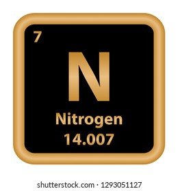 Nitrogen element from the periodic table series. Sign with atomic number and atomic weight. chemical element.