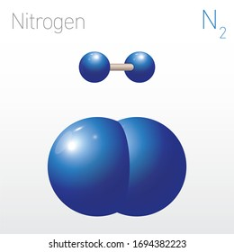 Nitrogen N2 Structural Chemical Formula and Molecule Model. Chemistry Education Vector Illustration