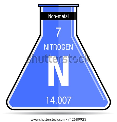 nitrogen symbol on chemical flask element number 7 of the periodic table of the elements