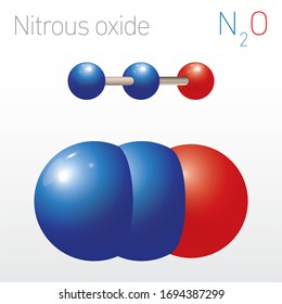 Nitrous Oxide N2O Structural Chemical Formula and Molecule Model. Chemistry Education Vector Illustration