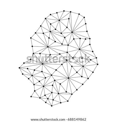 Niue Map Polygonal Mosaic Lines Network Stock Vector Royalty Free