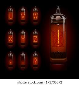 Nixie tube alphabet u to z