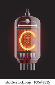 "Nixie tube indicator. Letter ""C"" from retro, Transparency guaranteed. Vector illustration."