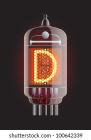 "Nixie tube indicator. Letter ""D"" from retro, Transparency guaranteed. Vector illustration."