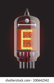"Nixie tube indicator. Letter ""E"" from retro, Transparency guaranteed. Vector illustration."
