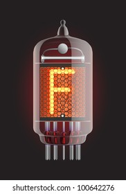"Nixie tube indicator. Letter ""F"" from retro, Transparency guaranteed. Vector illustration."