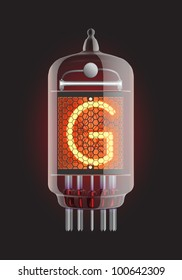 "Nixie tube indicator. Letter ""G"" from retro, Transparency guaranteed. Vector illustration."