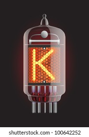 "Nixie tube indicator. Letter ""K"" from retro, Transparency guaranteed. Vector illustration."