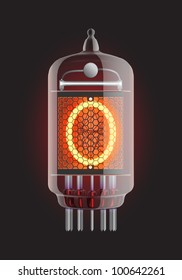 "Nixie tube indicator. Letter ""O"" from retro, Transparency guaranteed. Vector illustration."
