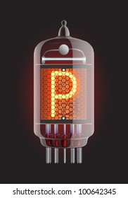 "Nixie tube indicator. Letter ""P"" from retro, Transparency guaranteed. Vector illustration."