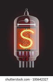 "Nixie tube indicator. Letter ""S"" from retro, Transparency guaranteed. Vector illustration."