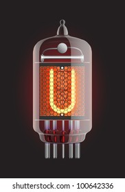 "Nixie tube indicator. Letter ""U"" from retro, Transparency guaranteed. Vector illustration."