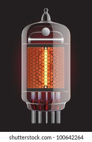 Nixie tube indicator. The number one of retro, Transparency guaranteed. Vector illustration.