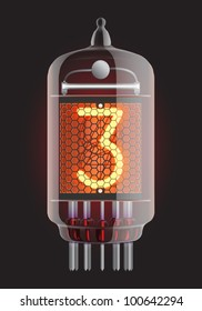 Nixie tube indicator. The number three of retro, Transparency guaranteed. Vector illustration.