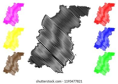 Nizhny Novgorod Oblast (Russia, Subjects of the Russian Federation, Oblasts of Russia) map vector illustration, scribble sketch Nizhegorod Oblast (Gorky Oblast) map