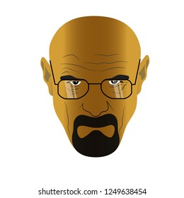 Nizhyn, Ukraine - November 29 2018: Face of heisenberg (Walter White) in glasses from Braking Bad serial
