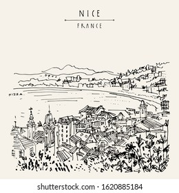 Nizza (Nice), France, Europe. Cozy European town on French Riviera, waterfront. Mediterranean sea. Hand drawing. Travel sketch. Vintage touristic postcard, poster or book illustration. EPS 10 vector