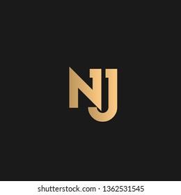 NJ or JN logo vector. Initial letter logo, golden text on black background