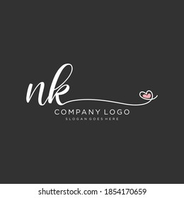 NK Beauty vector initial logo, handwriting logo of initial signature, wedding, fashion, jewelry, boutique, floral and botanical with creative template for any company or business.