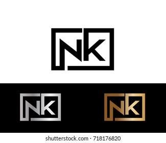 NK initial box shape Logo designs template