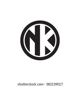 NK initial letters circle monogram logo