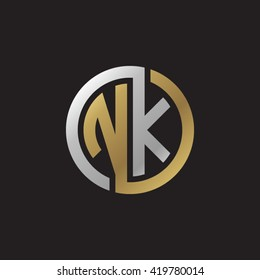 NK initial letters looping linked circle elegant logo golden silver black background