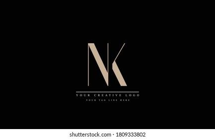 NK KN abstract vector logo monogram template