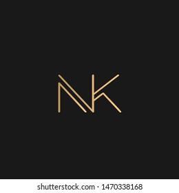 NK or KN logo vector. Initial letter logo, golden text on black background