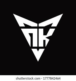 NK Logo monogram with back drop shape logo design template