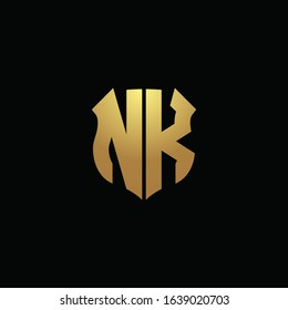 NK logo monogram with gold colors and shield shape design template